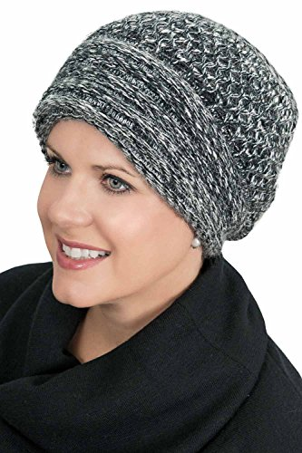 Angora Scarf - Headcovers Unlimited Angora Cuff Beanie Hat | Winter Beanies for Women | Cancer Chemo Beanie Angora Cuff - Grey