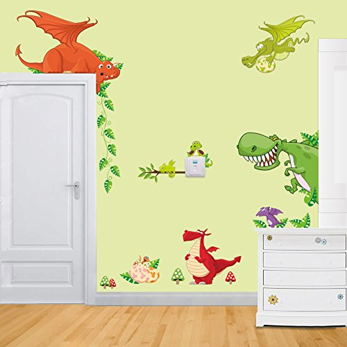 ElecMotive Jungle Wild Animal Vinyl Wall Sticker Decals for Kids Baby Bedroom (Dragon Theme)