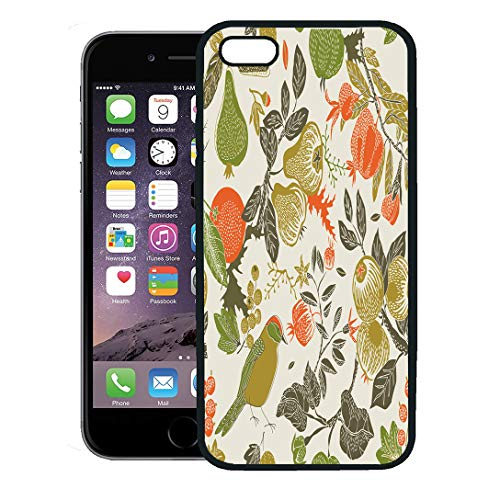 Semtomn Phone Case for iPhone 8 Plus case,Pattern Fruit Garden Bird Fall Pear Pomegranate Floral Berry iPhone 7 Plus case Cover,Black