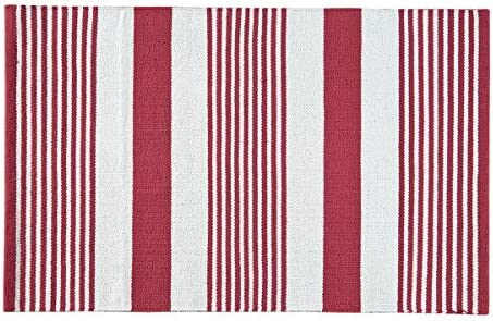 C F Home Red White Patriotic 4th of July Memorial Day Labor Day Americana Liberty Decorative Woven Area Rug 2×6 Woven Rug Red White
