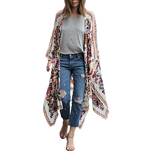 Nikuya Women Cardigan Top Cover up Shirt Floral Print Chiffon Loose Shawl Kimono Blouse (XXXXL, White) ()