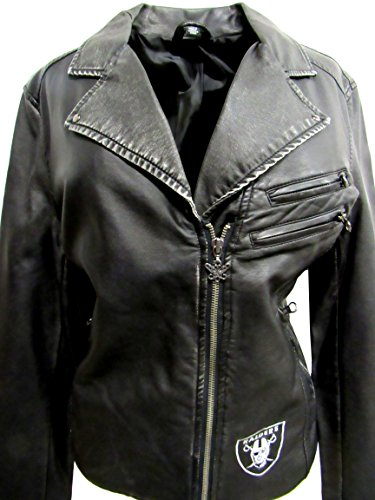 Touch by Alyssa Milano G-III Sports Oakland Raiders Ladies Size Large Embroidered Faux Leather Jacket. ARAD 64 - - Milano Coat Leather