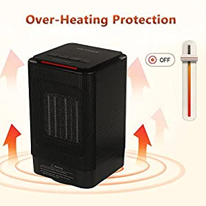 Keynice Electric Table Heater 950/450W Warming 5-inch Portable Ceramic Personal Space Heater with Over Heat Protection, Tip over Protection Mini Heater for Home Office Indoor Use - Black