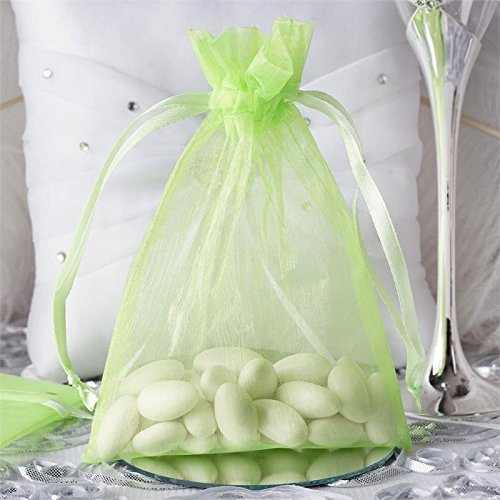 Tableclothsfactory 50PCS Mint Organza Gift Bag Drawstring Pouch Wedding Favors Bridal Shower Treat Jewelry Bags - 5