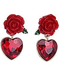 18K Gold Plated Vintage Simulated Ruby Heart&Red Rose Flower Women Girls Stud Earrings