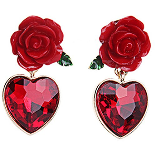 XCFS 18K Gold Plated Vintage Simulated Ruby Heart&Red Rose Flower Women Girls Stud Earrings