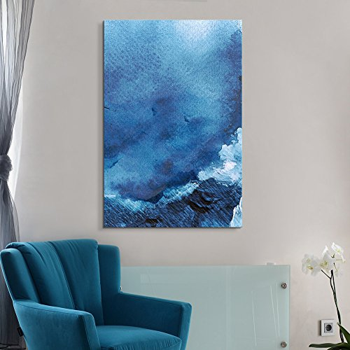 wall26 Canvas Wall Art - Oil Painting Style Abstract Blue Ocean - Giclee Print Gallery Wrap Modern Home Decor Ready to Hang - 16x24 inches (Ocean Oil Painting)