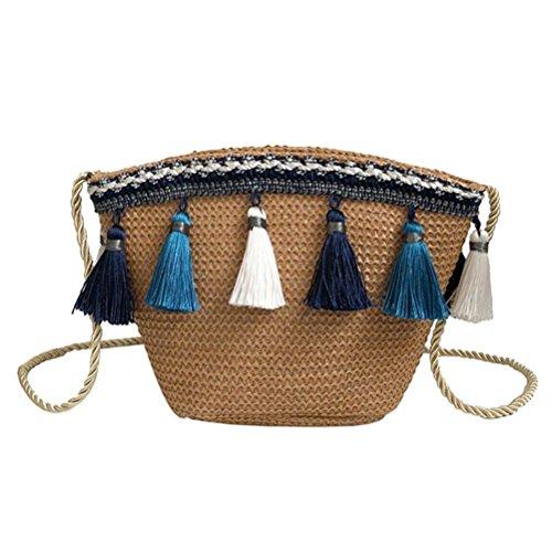 Women Straw Summer Shoulder Bag Stylish Beach Sling Bag Travel Weave Handbag ()