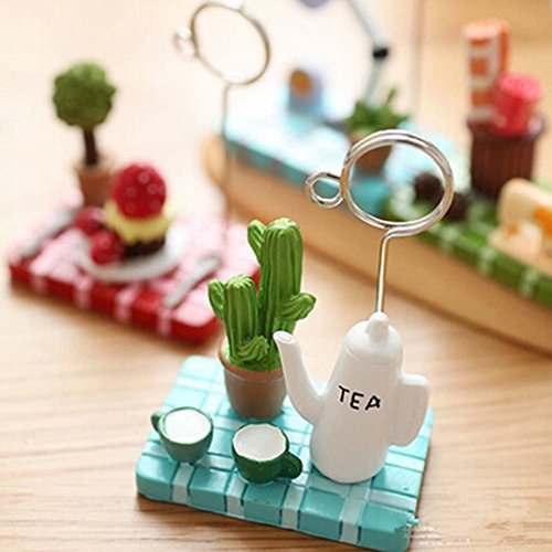 qsbai Cute Micro Landscape Teapot Strawberry Tree Memo Holder Clip for Business Card - Random Color & ()