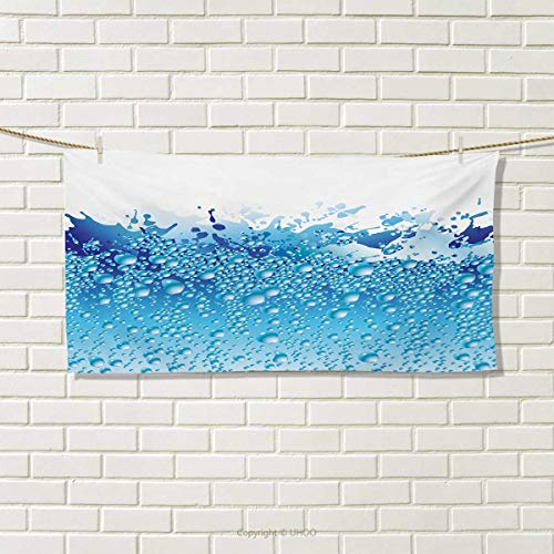 "Chaneyhouse Modern,Hand Towel,Aquarium Like Water Image with Bubbles Splashes Drops Art Print,Quick-Dry Towels,White Dark Blue and Sky Blue Size: W 14"" x L 14"""