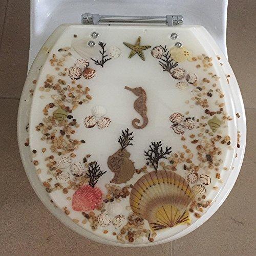 Heavy Duty Comfort Seahorse Seashells Oval Elongated Toilet Seats with Cover Acrylic Seats. (Ivory