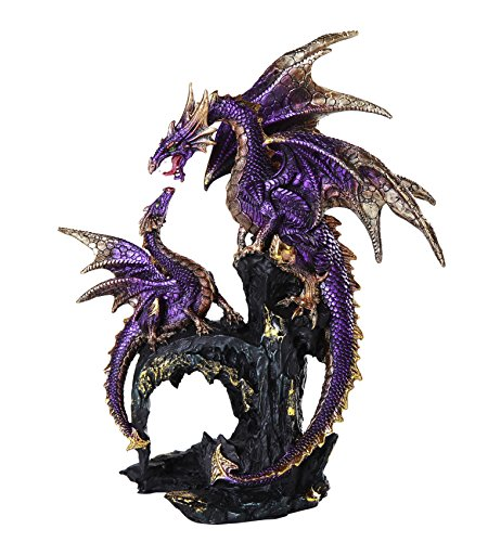 Pacific Giftware Royal Purple Dragon Family Collectible Figurine 9 Inch Tall