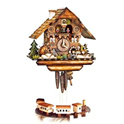 Original Eight Day Movement Cuckoo Clock with Mill Wheel, Chimney Sweeper and 2 Moving Trains 15 Inch