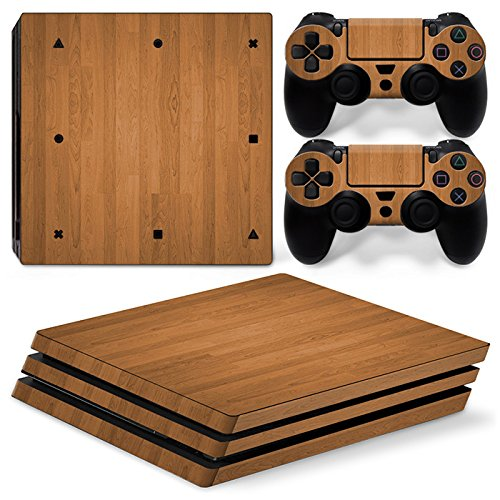 FriendlyTomato PS4 Pro Skin and DualShock 4 Skin - Wood Design - PlayStation 4 Pro Vinyl Sticker for Console and Controller Skin