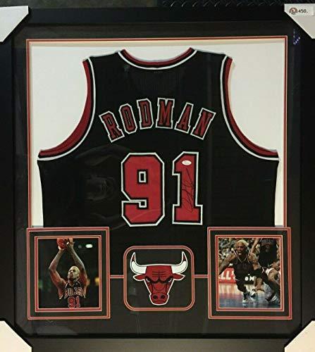 Dennis Rodman Autographed Signed Chicago Bulls 36 X 39 Framed Black Jersey (JSA COA)