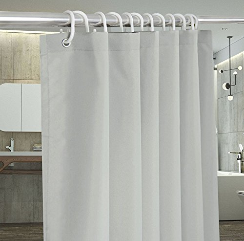 Grey/Gray Shower Curtain Stall Size 36 x 72-Inch, Solid Color Shower Curtain Mildew Free