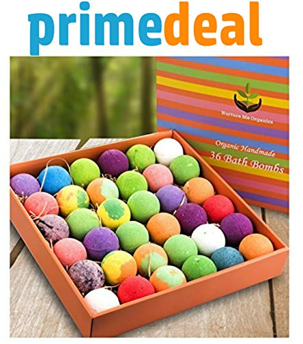 Bulk Bath Bomb Gift Set -36 Nurture Me Organic Bath Bombs, Large Bath Fizzies! Gift Box of Bulk Bath Bombs is the Best Gift for Women, Gifts for Mom & Friends!
