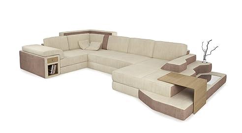 Ecksofa u form beige  Ecksofa Wohnlandschaft XXL Sofa Stoff Couch creme / sandbeige U ...