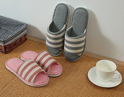 Zapatillas Lavables De La Raya Del Algodón De La Espuma De La Memoria De Las Mujeres Para Las Rayas Rojas Del Dormitorio Del Balneario Del Hotel De La Casa Del Viaje