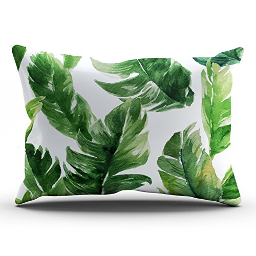 - ONGING Decorative Pillowcases White Watercolor Green Tropical Leaves Pattern Customizable Cushion Rectangle Lumbar Size 12x24 inch Throw Pillow Cover Case Hidden Zipper One Side Design Printed