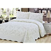 Quilt 3 Piece Bedding Bed set / Bedspread / Embroidered with 2 Pillow Shams, Cream (King)