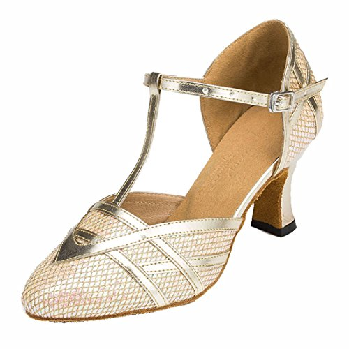 TDA Womens T-Strap Glitter Light Gold Synthetic Salsa Tango Ballroom Latin Party Dance Shoes CM101 4 M - Tango Light 4