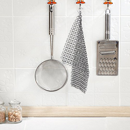 Cast Iron Cleaner Stainless Steel 8x6 Large Chainmail Scrubber for Lodge Cast Iron Skillet, Dutch Oven, Griddle, Grill Pan, Cookware & Pot. Tired of Dirty Sponges? Try Eco-Friendly Cast Iron Scraper! by EcoComely (Image #4)