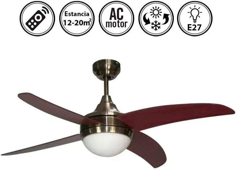 FABRILAMP Ventilador de Techo con luz Serie Osiris Nogal