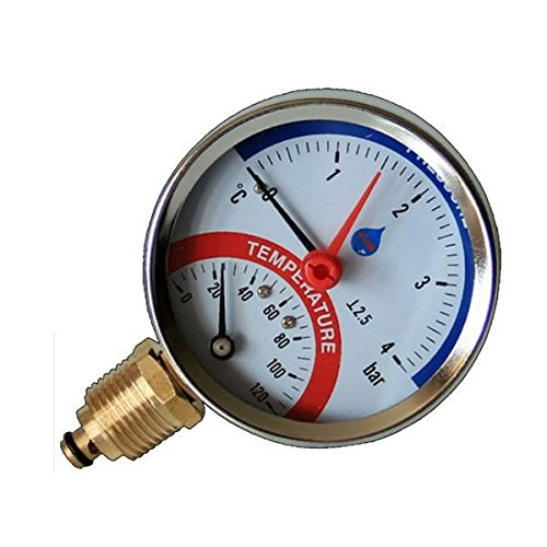 80mm 4 BAR Side Entry 120C Temperature Pressure Gauge 1/2' BSP Thermomanometer AIM WP80