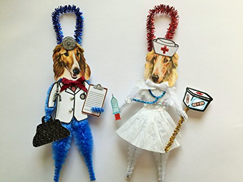 Borzoi DOCTOR & NURSE ORNAMENTS Vintage Style Chenille Ornaments Set of 2