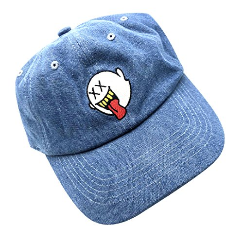 d41195686b637 zhidan wei Distressed Boo Mario Ghost Baseball Cap 3D Embroidery Dad Hats  Adjustable Snapback Blue - Buy Online in UAE.