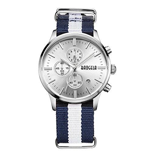 Megir Mens Fashion Casual Classic Calender Quartz Wrist Watch with Canvas Strap
