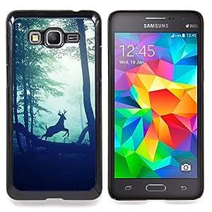 Ciervo Vignette Bosque Naturaleza Morning Sun - Metal de aluminio y de plástico duro Caja del teléfono - Negro - Samsung Galaxy Grand Prime G530F G530FZ G530Y G530H G530FZ/DS