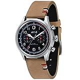AVI-8 Men's 'Flyboy Lafayette' Quartz Stainless Steel and Leather Aviator Watch, Color Brown (Model: AV-4054-02)