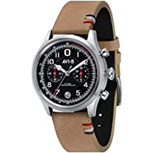 """AVI-8 Men's AV-4054-02 """"FlyBoy Lafayette"""" Stainless Steel Watch with Leather Band"""