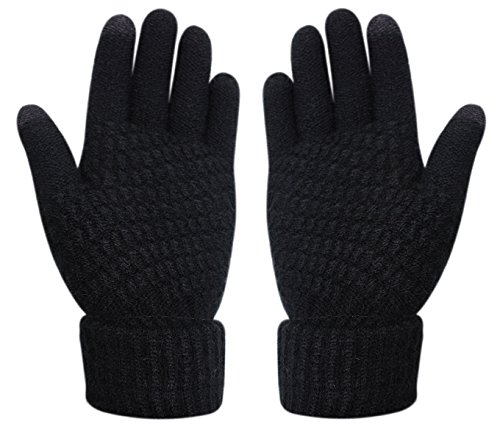 Womens Touch Screen Warm Soft Winter Knit Texting Gloves Cute Fashion Mittens for Smartphone Iphone Ipad(Black) (Gloves Women Knit)