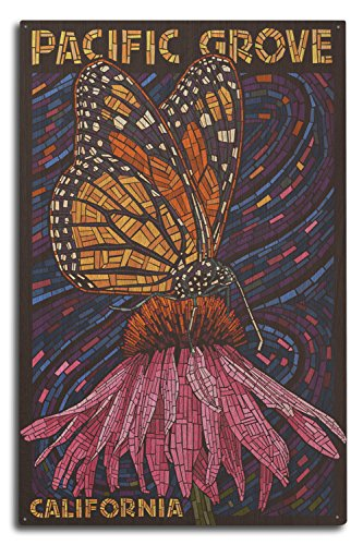 Lantern Press Pacific Grove, California - Monarch Butterfly - Paper Mosaic (10x15 Wood Wall Sign, Wall Decor Ready to Hang) (Art Butterfly Mosaic Wall)
