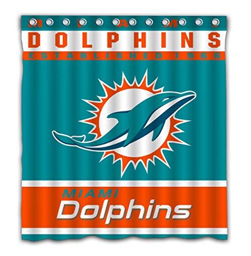 Potteroy Miami Dolphins Team Design Shower Curtain Waterproof Polyester Fabric 66x72 Inches