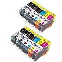 ONLYU Compatible Canon PGI-220 CLI-221 PGI220 CLI221 High Yield Ink Cartridge For Canon Pixma MP560 MP620 MP980 MP990 MX860 MX870 Printers 12-Pack(4Large Black, 2Small Black, 2Cyan, 2Magenta, 2Yellow)