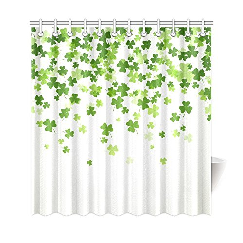 InterestPrint Saint Patrick's Day Home Bath Decor, Falling Clover Leaves Polyester Fabric Shower Curtain Bathroom Sets 69 X 72 Inches