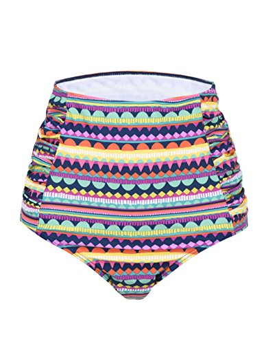 ntage High Waisted Bikini Bottom Shirred Tankini Briefs (US 18, Wave Print) ()