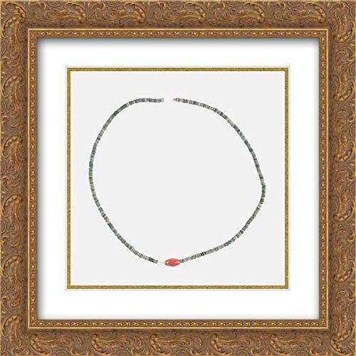 Carnelian Barrel Beads - Middle Kingdom Period - 20x20 Gold Ornate Frame and Double Matted Museum Art Print - Necklace with Carnelian Barrel Bead