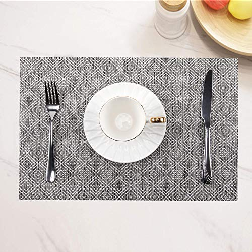 (SHINYKDY Placemats Set of 6,Woven Vinyl Place Mats Heat Resistant Dining Table Mats PVC Washable 18 X 12 Inches (White Ash))