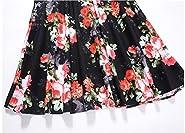 BILIKE Vintage Off The Shoulder 3/4 Sleeve Floral Patchwork Pockets Cocktail Party Dresses