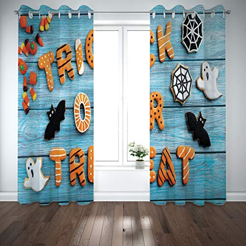 SCOCICI Grommet Satin Window Curtains Drapes [ Halloween,Fresh Trick Treat Gingerbread Cookies on Blue Wooden Table Spider Web Ghost Decorative,Multicolor] Living Room Bedroom Kitchen Cafe