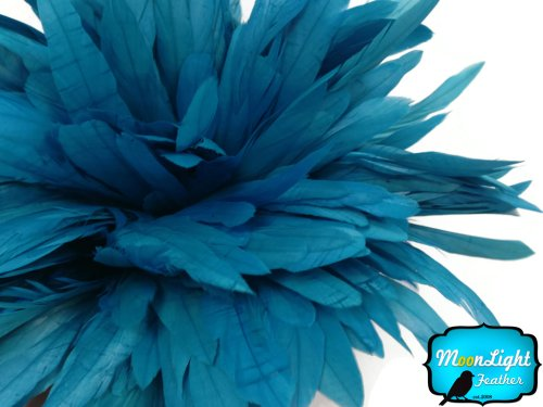 2.5 Inch Strip - TURQUOISE Strung Natural Bleach Coque Tails Feathers (Moonlight String)