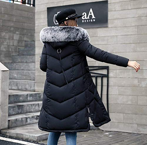 Warm Jackets Faux Coat Quilted Sleeve Long Ladies Winter Fashion Collar Fur Zipper Down Mode Slim Coat Color Casual Comfortable Schwarz with Autumn Down Padded Jacket Jacket Fit Long Solid Winter p18Z0nq8f