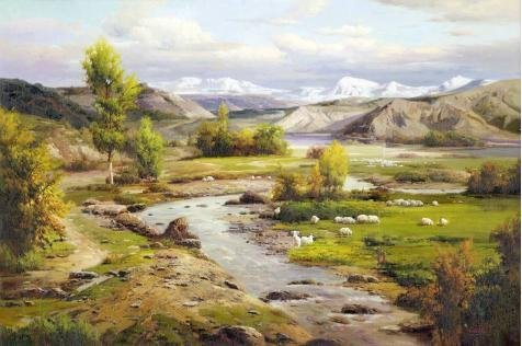 High Quality Polyster Canvas ,the High Quality Art Decorative Canvas Prints Of Oil Painting 'Landscape: Sheeps In The Pasture', 8x12 Inch / 20x31 Cm Is Best For Bathroom Decoration And Home Gallery Art And Gifts