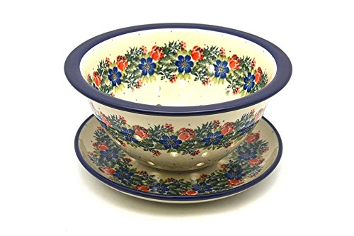Polish Pottery Berry Bowl with Saucer - Garden Party