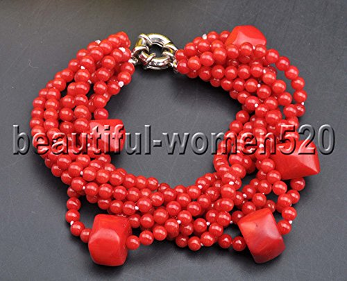 White Pearls Pink Coral Necklace - RED BRACELET X0494 Set 5Strds Red & Pink round Coral White keshi pearl Necklace & Bracelet